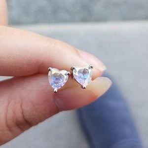 925 silver rainbow topaz heart stud earrings